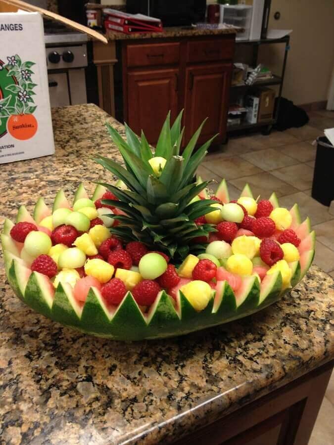 melancia cortada de forma diferente para decoração de mesa de frutas Foto Air Freshener