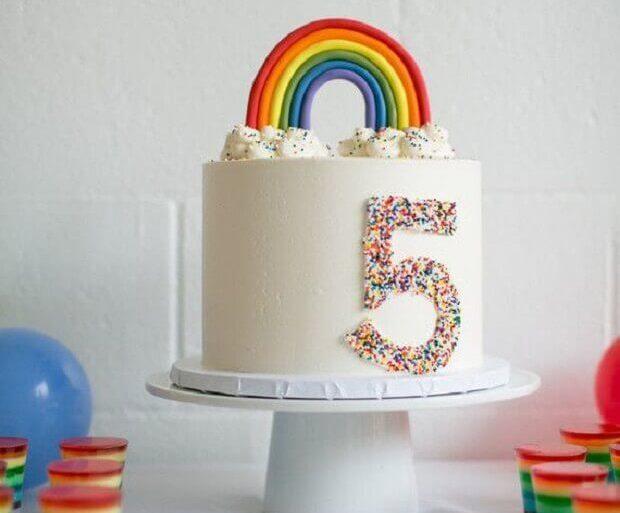 modelo de bolo mesversário decorado com arcoíris Foto Bloglovin
