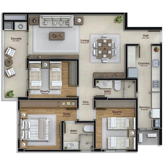 plantas de casas - planta baixa 3d de casa com closet