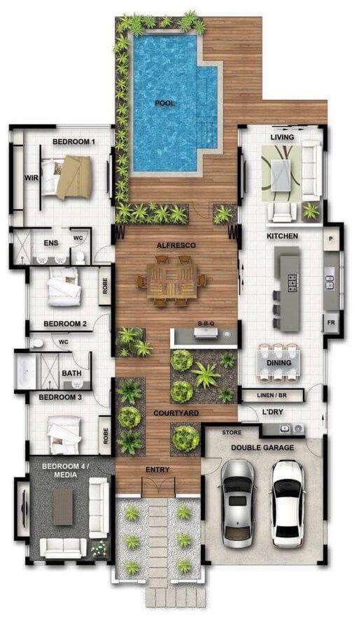 plantas de casas - planta baixa de casa com deck e piscina