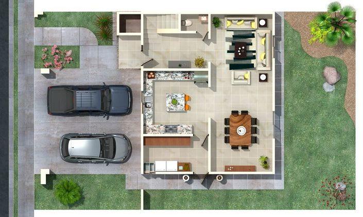 plantas de casas - planta baixa de casa pequena