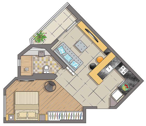plantas de casas - planta baixa de loft