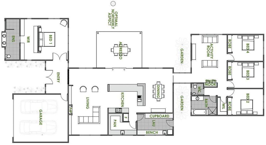 plantas de casas - planta de casa com quatro quartos