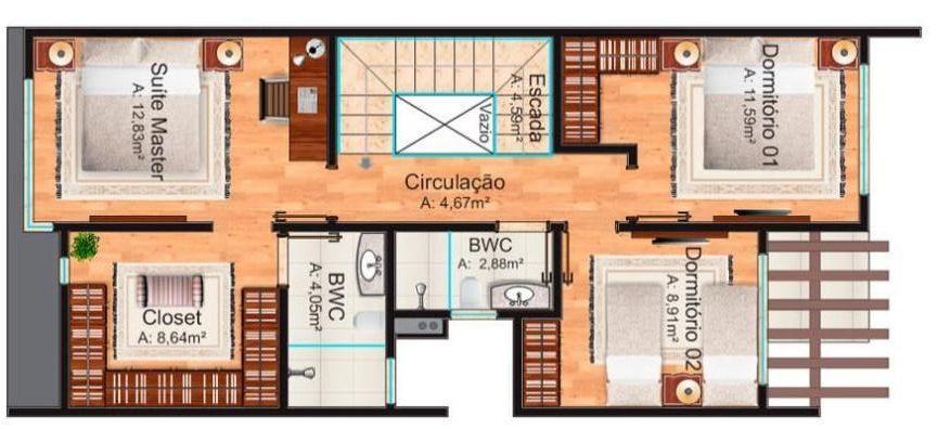 plantas de casas - planta de casa com suite master