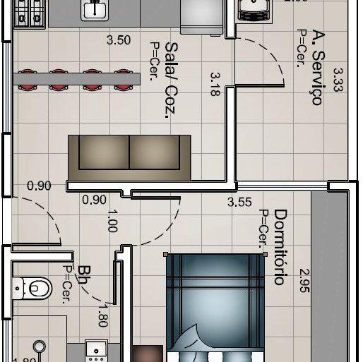 plantas de casas - planta de kitnet simples com bancada - Tudo Construção