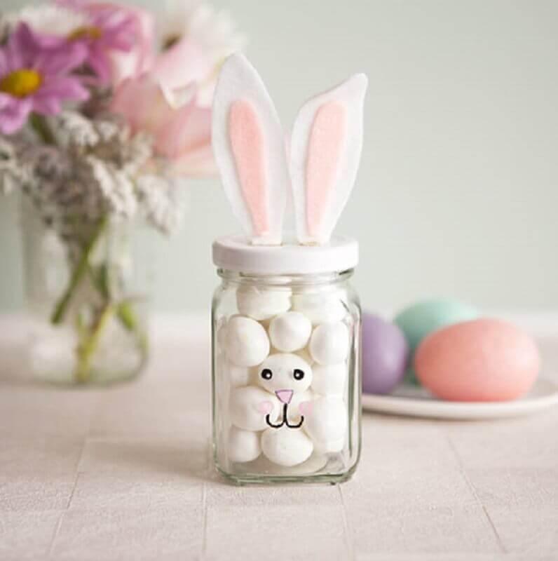 potinho de vidro decorado para lembrancinhas de páscoa Foto Como Fazer em Casa