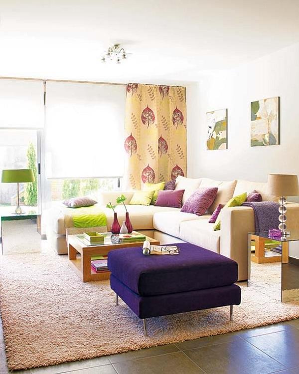 roxo na decoração de sala de estar luxuosa