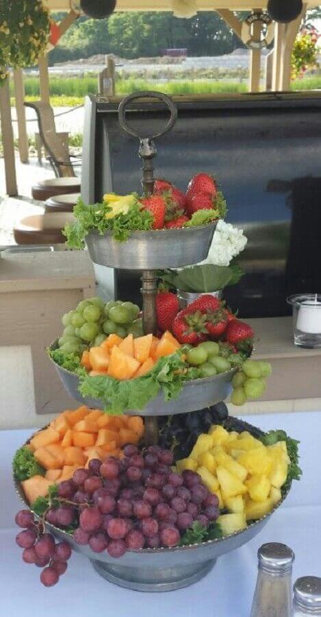 suporte rústica para decoração de mesa de frutas Foto Pinterest