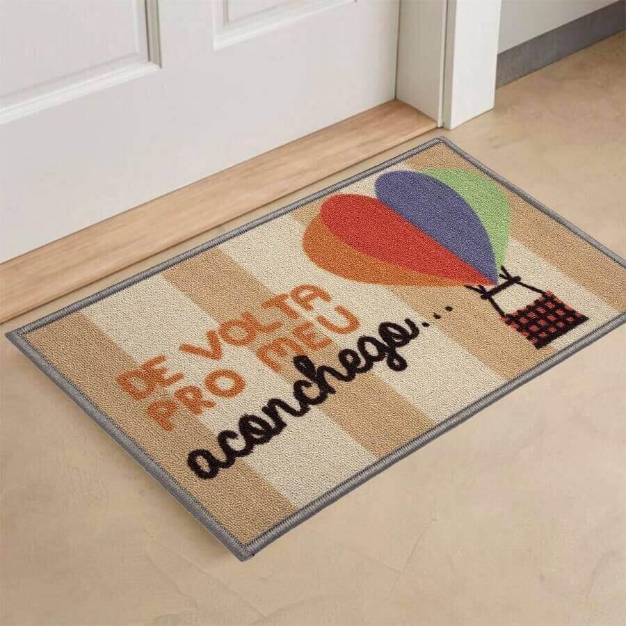 tapete capacho divertido com desenho de balões coloridos Foto Pinterest