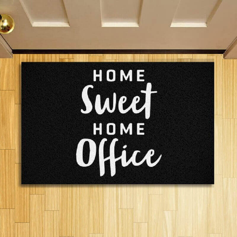 tapete capacho divertido escrito home-sweet home office - Foto GrupoTip