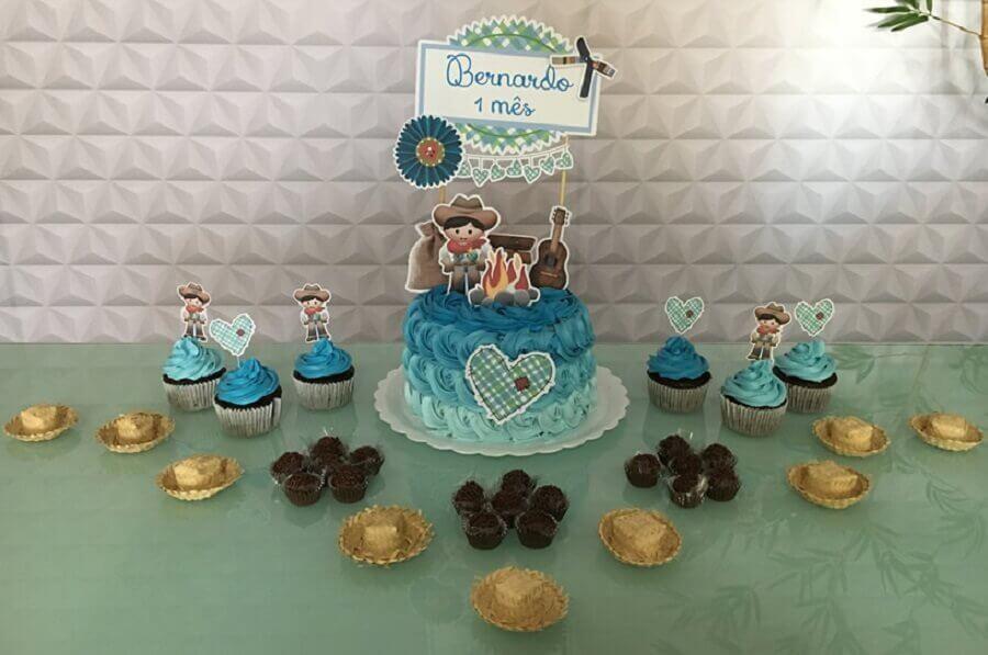 tema festa caipira para mesversário de menino Foto Flavia Kitty