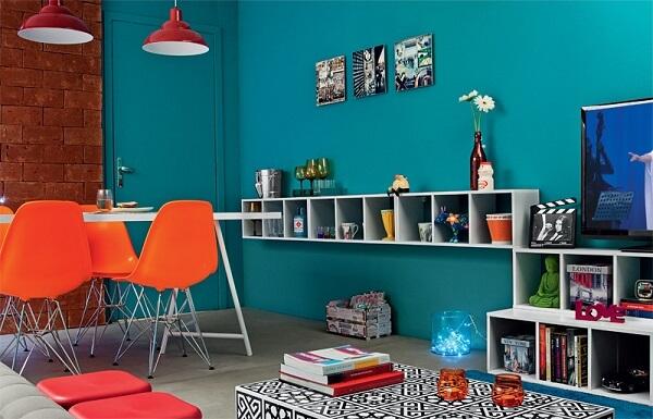 Combinação fantástica entre as tonalidades laranja e azul turquesa