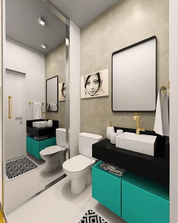 Gabinete de banheiro com a cor azul turquesa