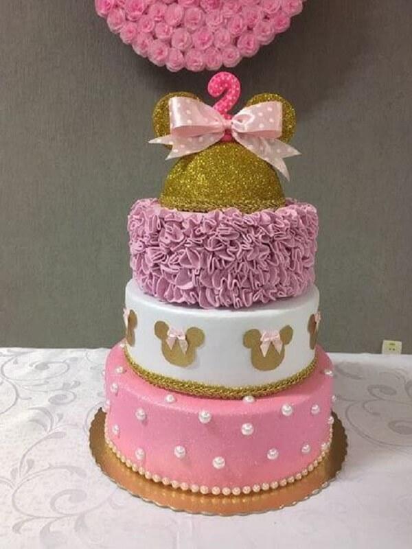 Bolo de andares para festa da minnie rosa