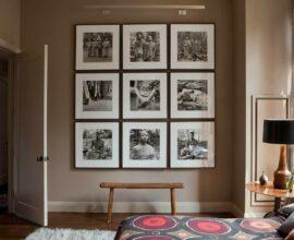 Composição de quadro de fotos no quarto