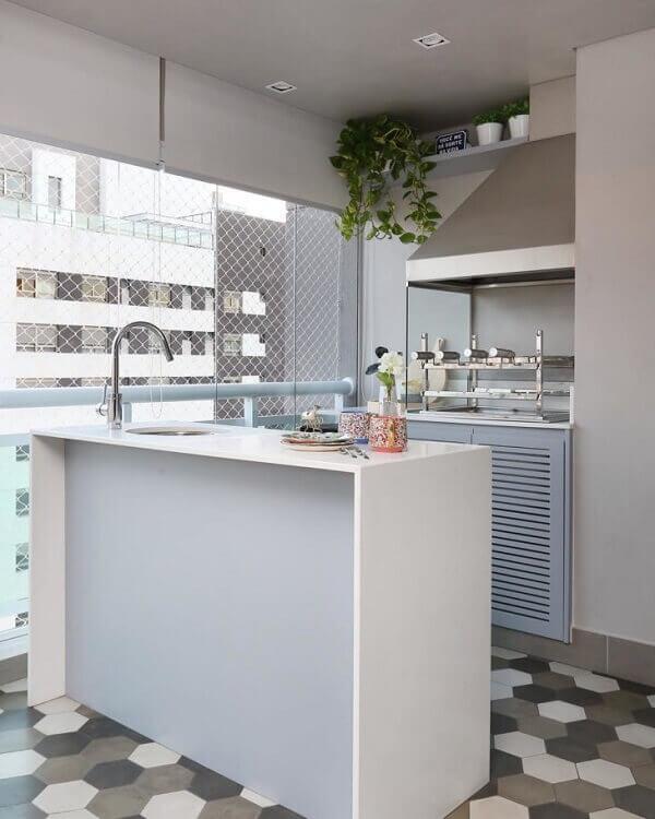 Cortina de vidro em área de churrasqueira