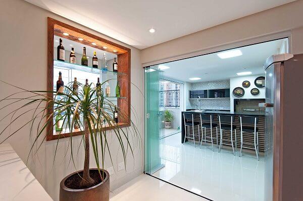 Cortina de vidro para área interna