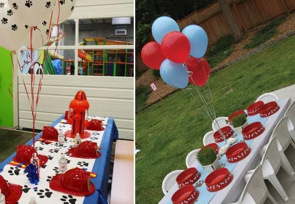 Decoração de festa da patrulha canina para a mesa das crianças