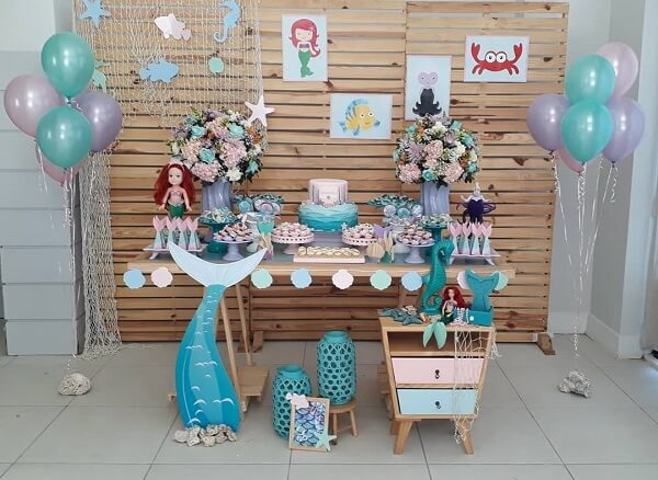Simple and rustic decoration with the theme of the Little Mermaid