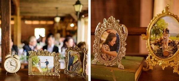 Decoração vintage casamento com retratos da família