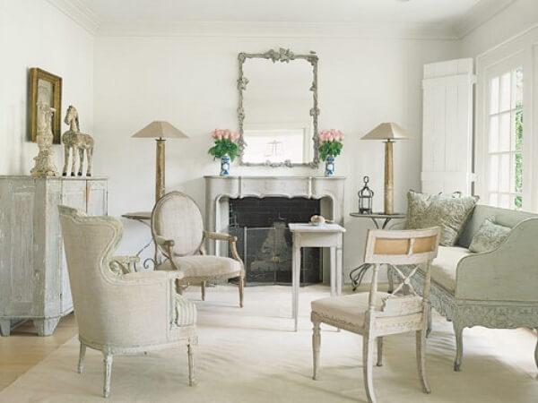 Decoração vintage em tons sóbrios para sala de estar