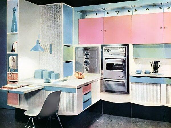 Decoração vintage para cozinha nas cores rosa e azul