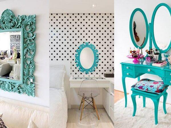 Peças decorativas na cor azul turquesa