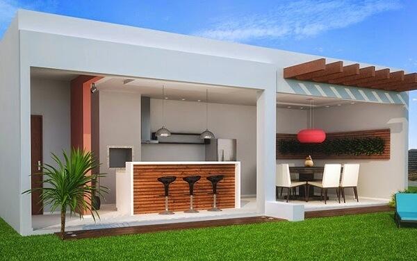 Edícula com churrasqueira em projeto de arquitetura