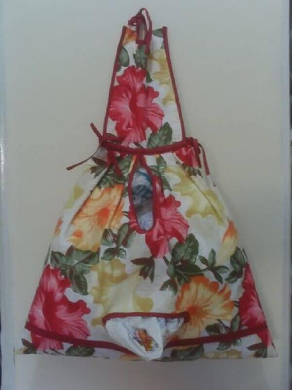 Estampa floral para o puxa saco de tecido
