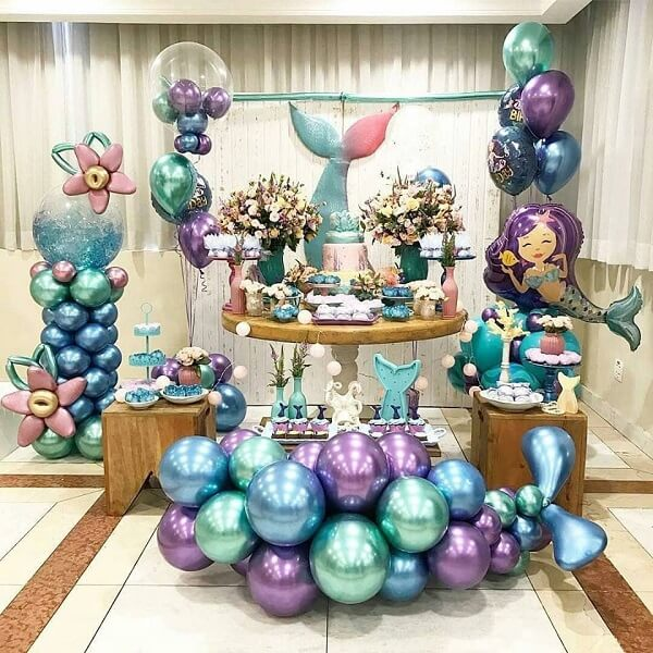 Birthday party with the theme of the Little Mermaid