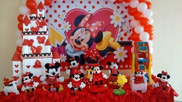 Decoração de festa da minnie vermelha