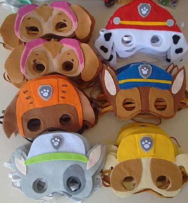Máscara dos personagens para festa patrulha canina