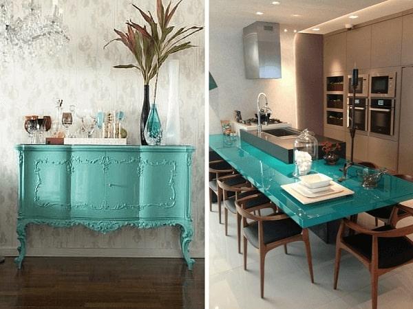 Móveis e tampo de mesa em laca na tonalidade azul turquesa