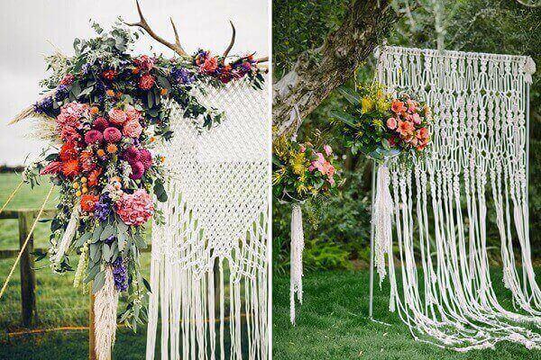 Macrame para decoração vintage casamento