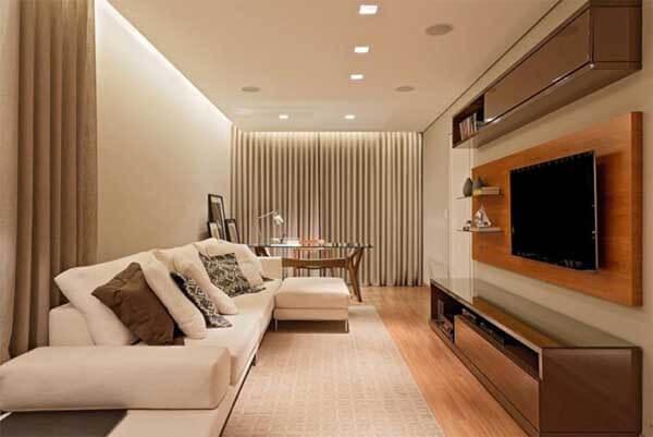 Modelos de cortinas para sala com led´s na sua extensão