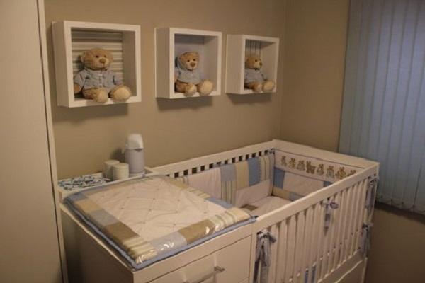 Nichos são ótimos quando utilizados na decoração de quarto simples