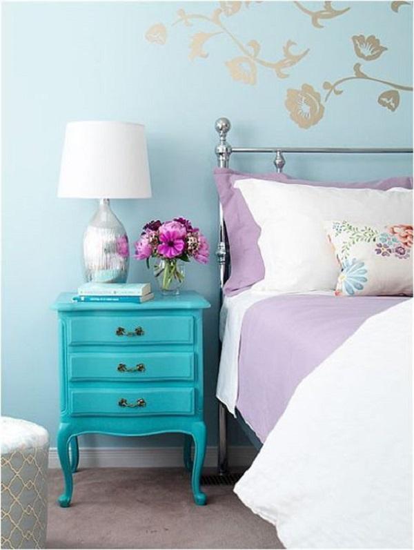O azul turquesa por ser uma cor unissex linda e moderna essa tonalidade é sempre bem-vinda no quarto de casal