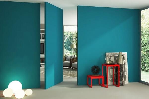 Azul turquesa para a sala de estar, cozinha, quarto, banheiro