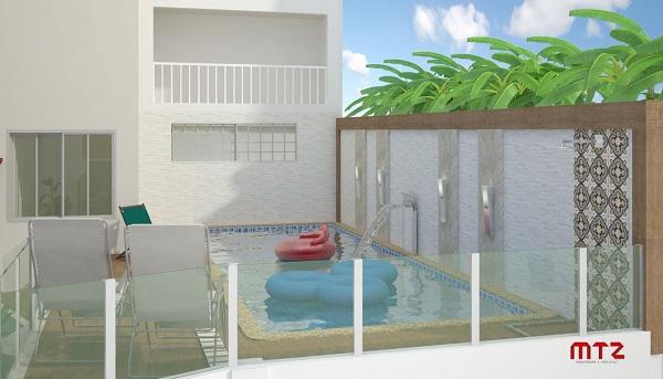 Modelo de piscina suspensa para área de lazer pequena