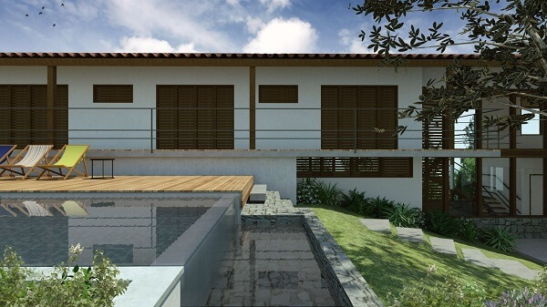 Modelo de piscina pequena com borda infinita