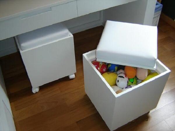Puff baú para quarto infantil para guardar brinquedos