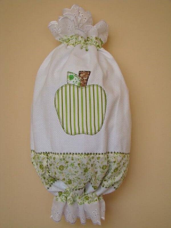 Puxa saco de tecido com desenho de pêra