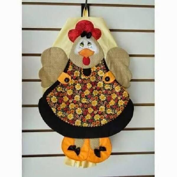 Puxa saco de tecido em formato de galinha