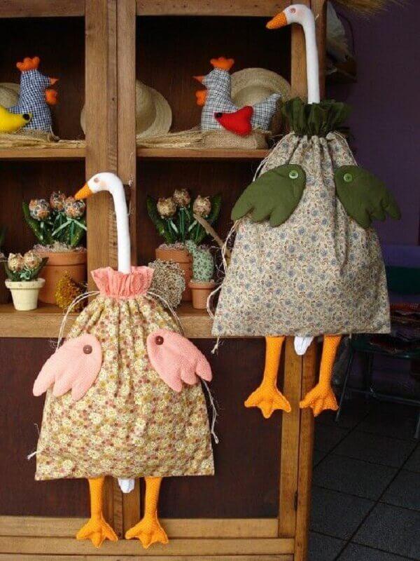 Puxa saco diferente de tecido em patchwork