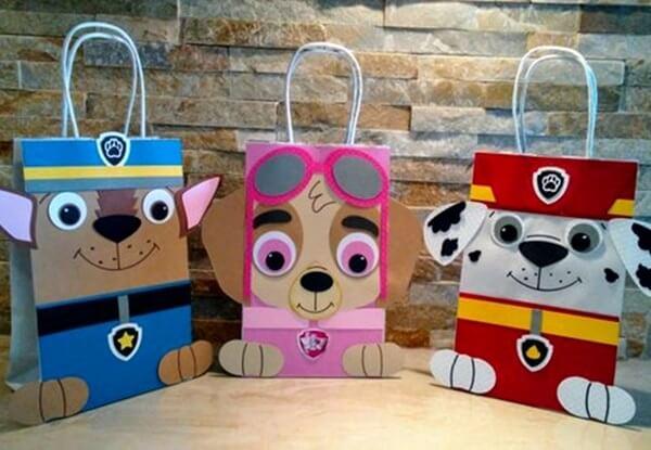 Sacolinhas personalizadas com os personagens para festa patrulha canina