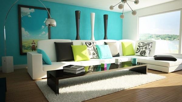 Sala com parede na cor azul turquesa