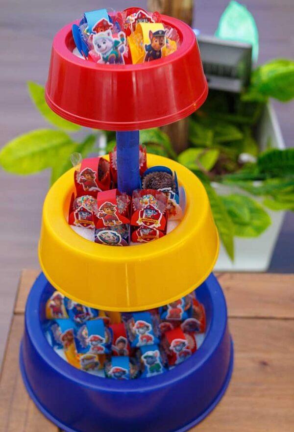 Suporte de doces para decoração de festa patrulha canina