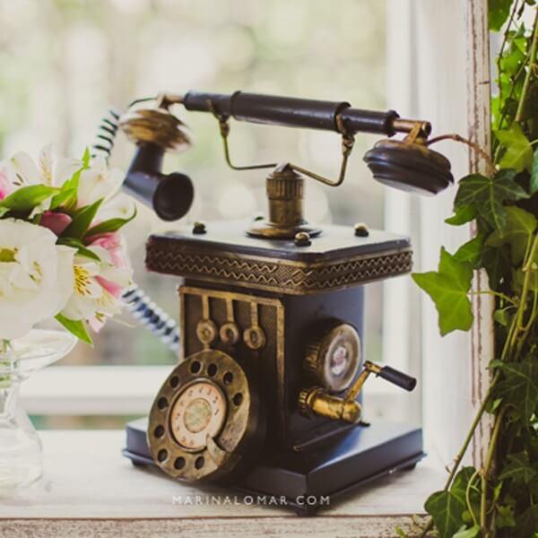 Telefone vintage para a decoração de casamento