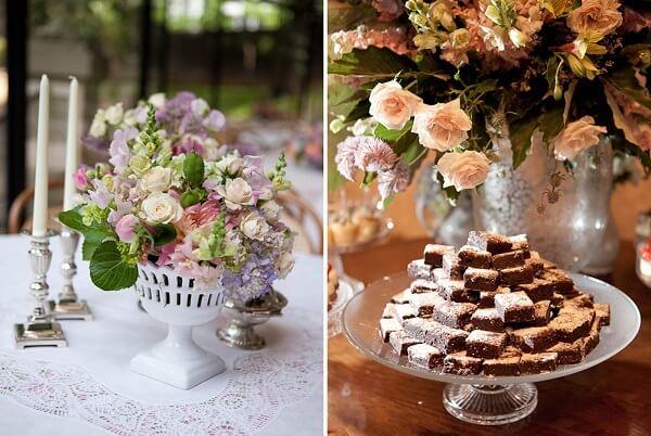 Utilize renda e cristais para compor a decoração vintage casamento