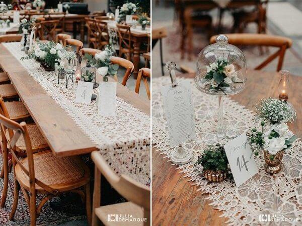 Utilize renda para decoração das mesas dos convidados